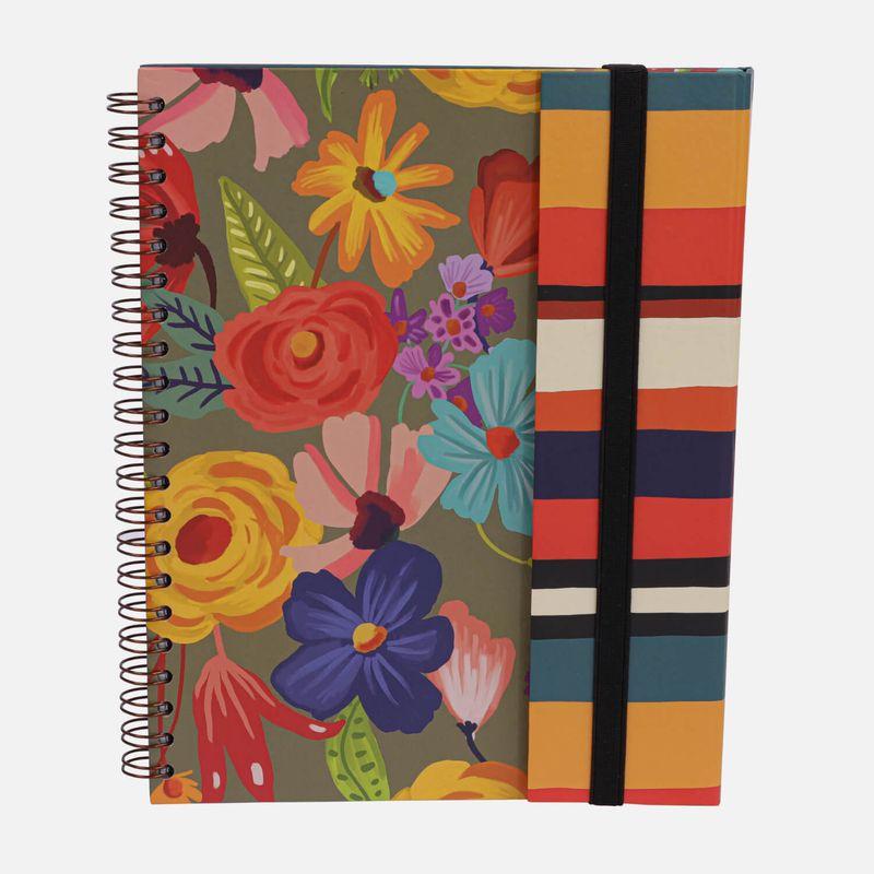 Caderno-universitario-Escolar-com-aba-90-folhas-Floral-Noite-1-CA2982-Papel-Craft