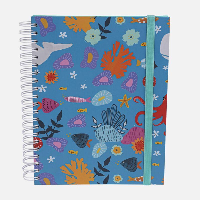 Caderno-universitario-Escolar-10-materias-180-folhas-Oceano-magico-1-CA2229-Papel-Craft